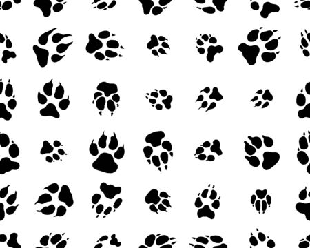 Black trace of dogs on white background, seamless vector wallpaper