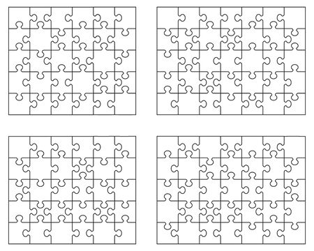 Set of four white puzzles, separate parts