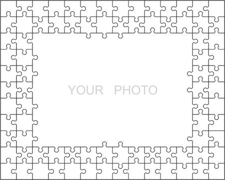 Jigsaw puzzle frame or border made of various white classic style pieces fitting each other Ilustracja