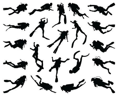 Black silhouettes of divers on a white background Vektorgrafik
