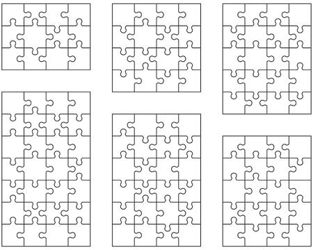 Set of six white puzzles, separate parts