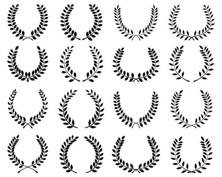 Black silhouettes of laurel wreaths on a white background