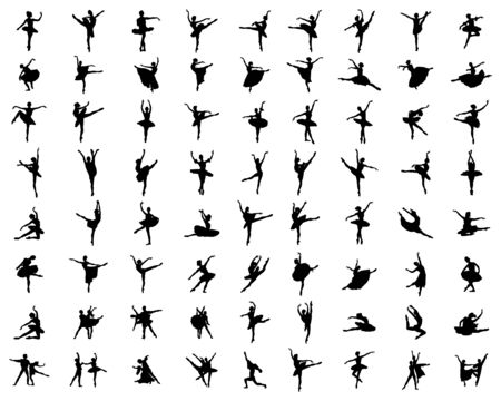 Black silhouettes of ballerinas  on a white background Ilustracja