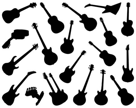 Black silhouettes of guitars on a white background