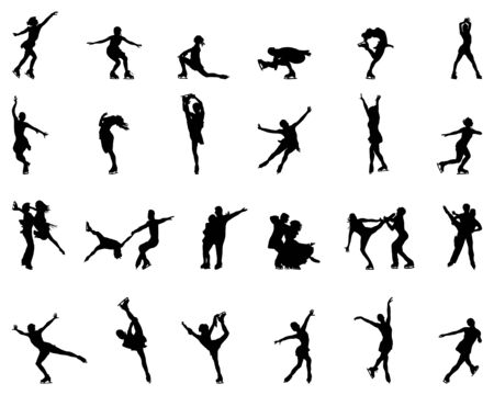 Black silhouettes of skating on a white background