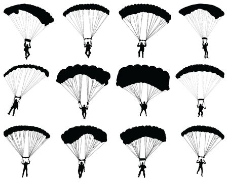 Black silhouettes of a paragliders on a white background