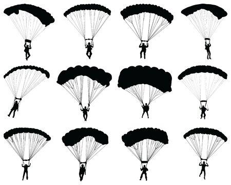 Black silhouettes of a paragliders on a white background Zdjęcie Seryjne - 147466880