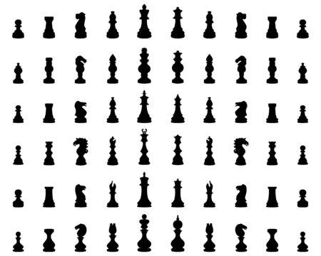 Black silhouettes  of chess figures on a white background Ilustracja