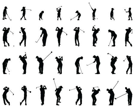 Black silhouettes of golf players on a white background Ilustracja