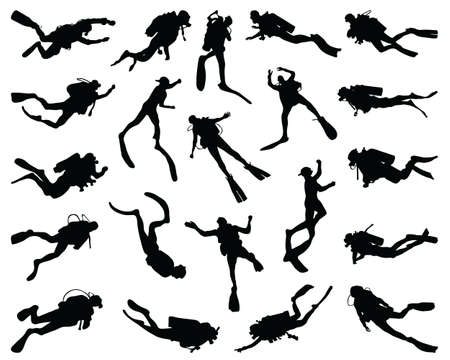 Black silhouettes of divers on a white background Zdjęcie Seryjne - 151369213