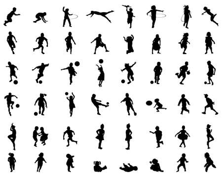 Black silhouettes of children playing on a white background