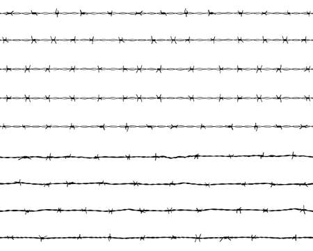 Black silhouette of the barbed wire on a white background