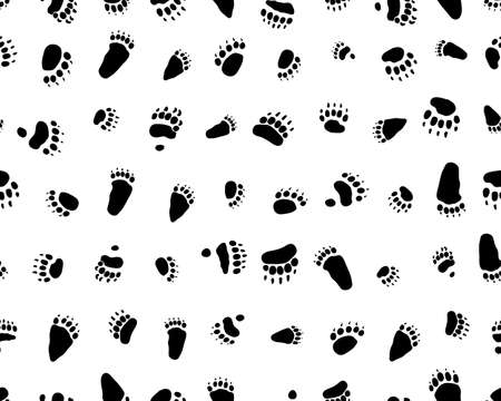 Seamless pattern with footprints of bears white background Vettoriali