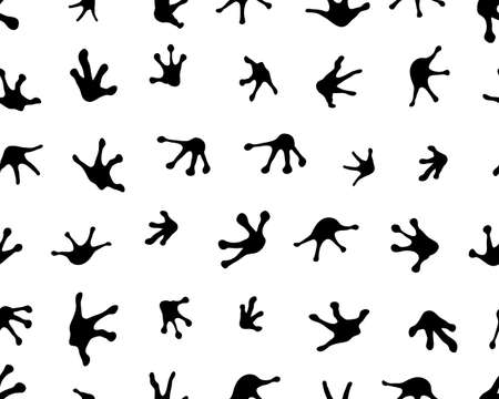 Seamless pattern with footprints of frogs white background