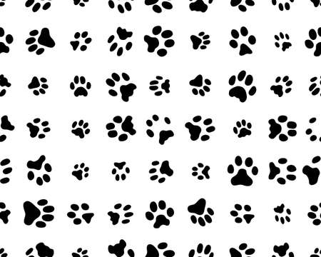 Seamless pattern with footprints of cats  on white background