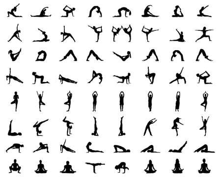 Black silhouettes of yoga and fitness on white background Zdjęcie Seryjne - 152925807