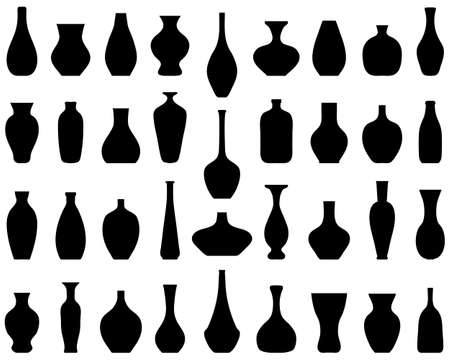 Black silhouettes of flower vases on white background 일러스트