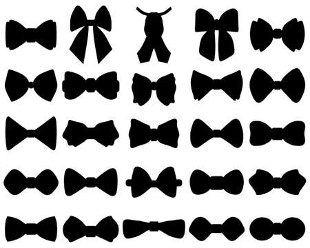 Black silhouettes of bow ties on white background Vettoriali