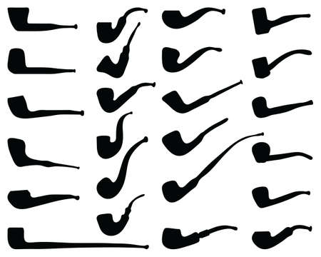 Black silhouettes of tobacco pipes on white background