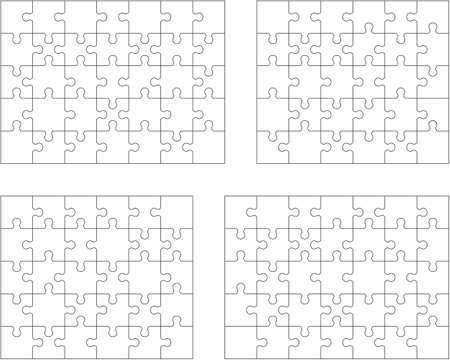 Set of four white puzzle, separate pieces Illustration