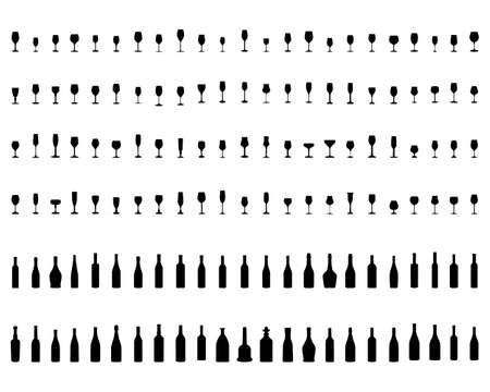 Silhouettes of pitchers, glasses and bottles on a white background