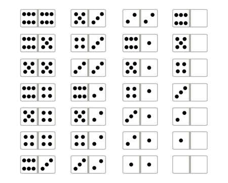 Full set of domino on a white background Illustration