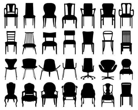 Black silhouettes of different chairs on a white background Illustration