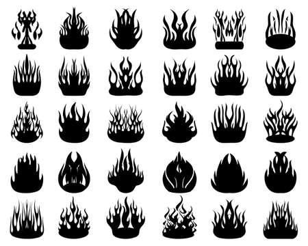 Black silhouettes of fire flames on a white background