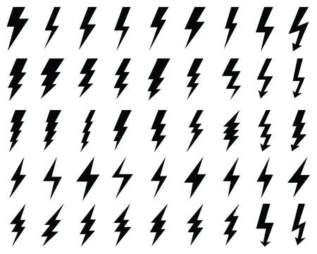 Black icons of thunder and flash lighting on a white background