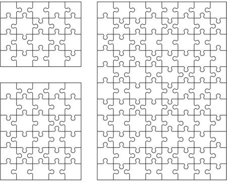 Set of white puzzles, separate parts