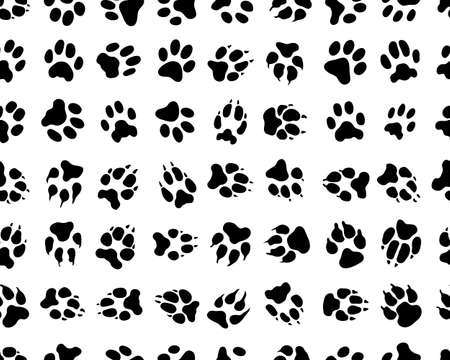 Black traces of dogs on a white background, seamless wallpaper