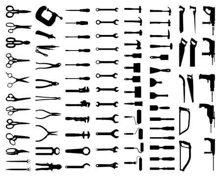 Black silhouettes of home tools on a white background