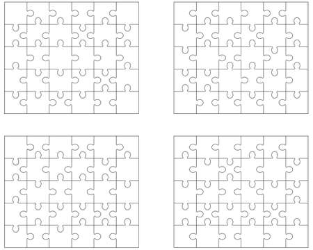 Illustration of four different white puzzles, separate pieces Illustration