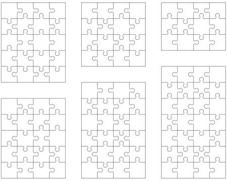 Illustration of six different white puzzles, separate pieces