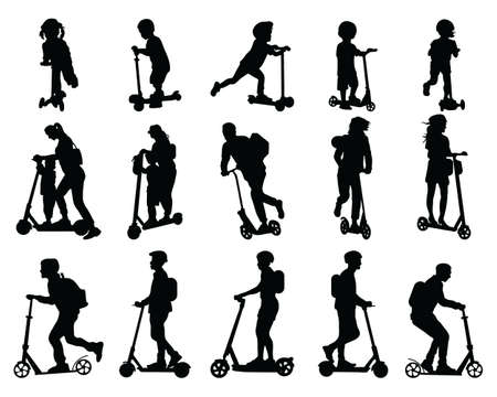 Black silhouettes of people riding a scooter on a white background, city vehicle for independent movement
