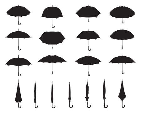 Black silhouettes of open and closed umbrellas on a white background