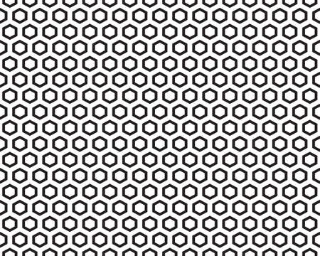 Geometric black hexagon  on a white background, seamless pattern Illustration