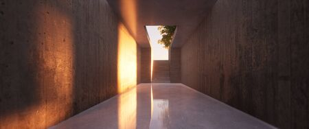 fall sunlight at the end of a concrete corridor 3D rendered illustration