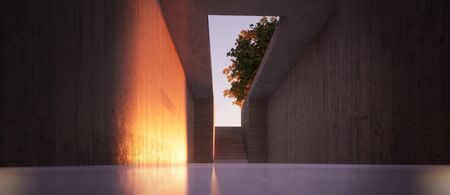 fall sunlight at the end of a concrete corridor 3D rendered illustration Banque d'images