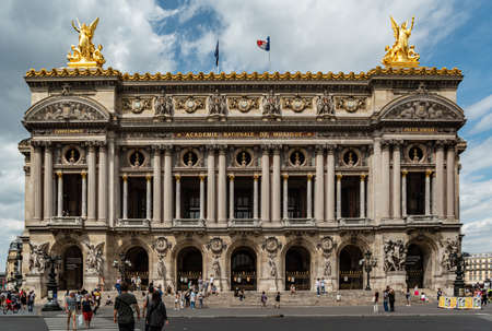 view of the facade of the opera Garnier, built by architect Charles Garnier from 1861 to 1875 for the Paris Opera. Редакционное