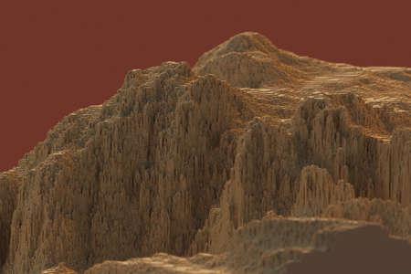 voxels mountains 3D computer generated landscape