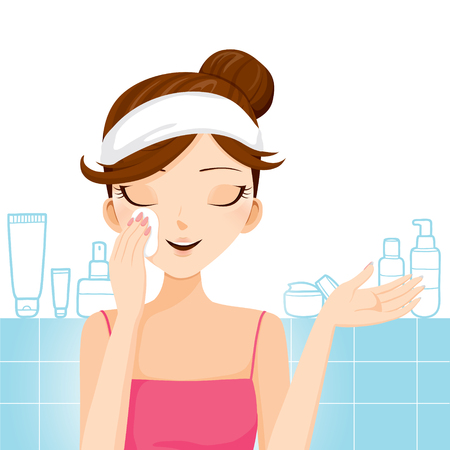 pulizia viso: Giovane donna di pulizia il trucco sul viso, viso, bellezza, estetica, trucco, salute, stili di vita Vettoriali