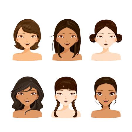 niñas sonriendo: Mujeres jóvenes caras con varios estilos de pelo y set de la piel, el pelo de colores, moda femenina, la belleza