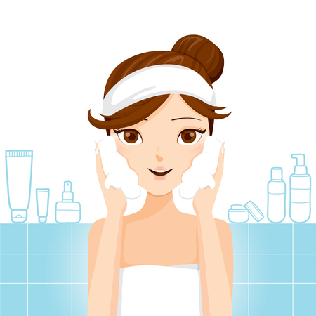 bathroom cartoon: Young Woman Washing Face With Foam, Facial, Beauty, Cosmetic, Makeup, Health, Lifestyle Illustration