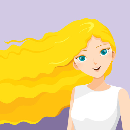 blonde curly hair: Young Woman With Long Curly Blonde Hair, Blowing In The Wind, Hairstyles, Beauty