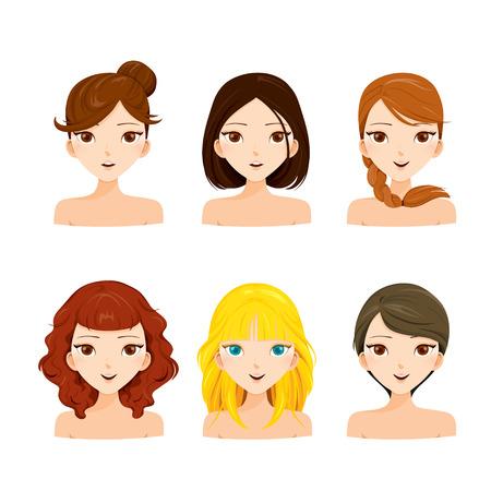 Mujeres jóvenes caras con peinados diferentes Conjunto, colores del pelo, señoras de la moda, la belleza Ilustración de vector