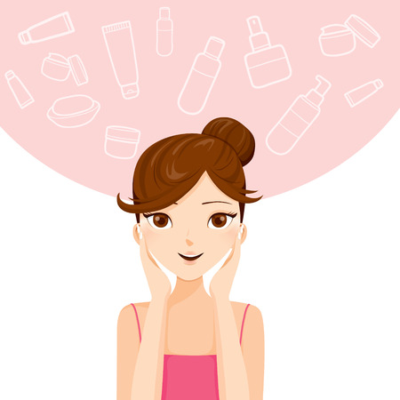 Young Woman Cleaning And Cares Her Face, Facial, Beauty, Cosmetic, Makeup, Health, Lifestyle Illustration