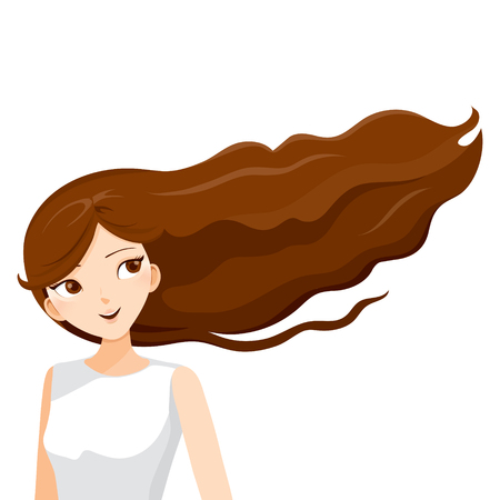 young woman smiling: Young Woman With Long Curly Brown Hair, Blowing In The Wind, Hairstyles, Beauty Illustration
