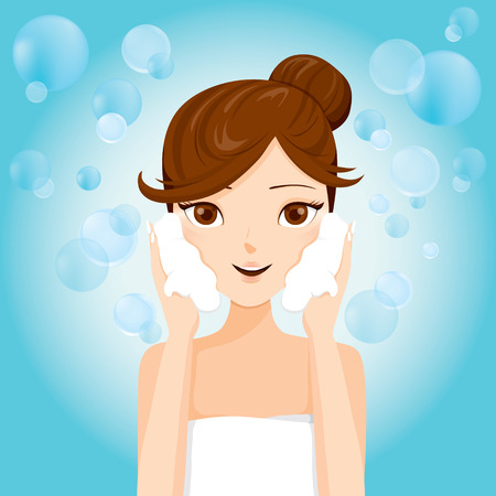 woman washing face: Young Woman Washing Face With Foam , Facial, Beauty, Cosmetic, Makeup, Health, Lifestyle