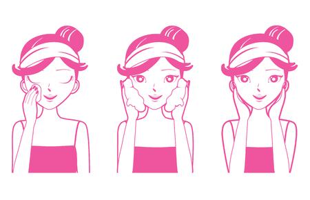 pulizia viso: Giovane donna di pulizia, lavaggio e Cares La sua faccia, facciale, bellezza, estetica, trucco, salute, stili di vita Vettoriali